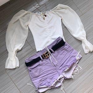 Lilac Levi 501 denim shorts